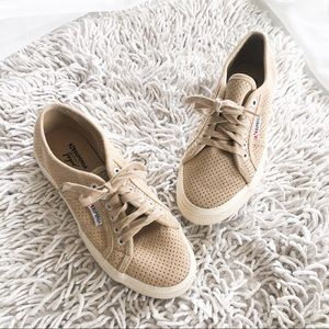 SUPERGA tan suede perforated lace up sneakers 8